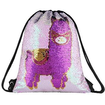 Amazon.com: Mochila con cordón y lentejuelas de unicornio ...