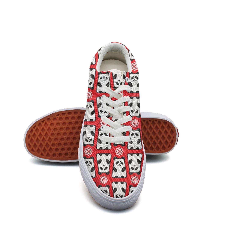 WENL Womens red Cute Panda Bears Funky Canvas Sneaker