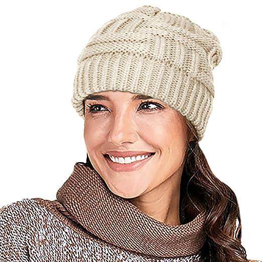 d9c5078c2679d4 Glamorstar Unisex Winter Knit Beanie Hat Stretch Cable Ponytail High Bun Hat  Skull Cap Beige A