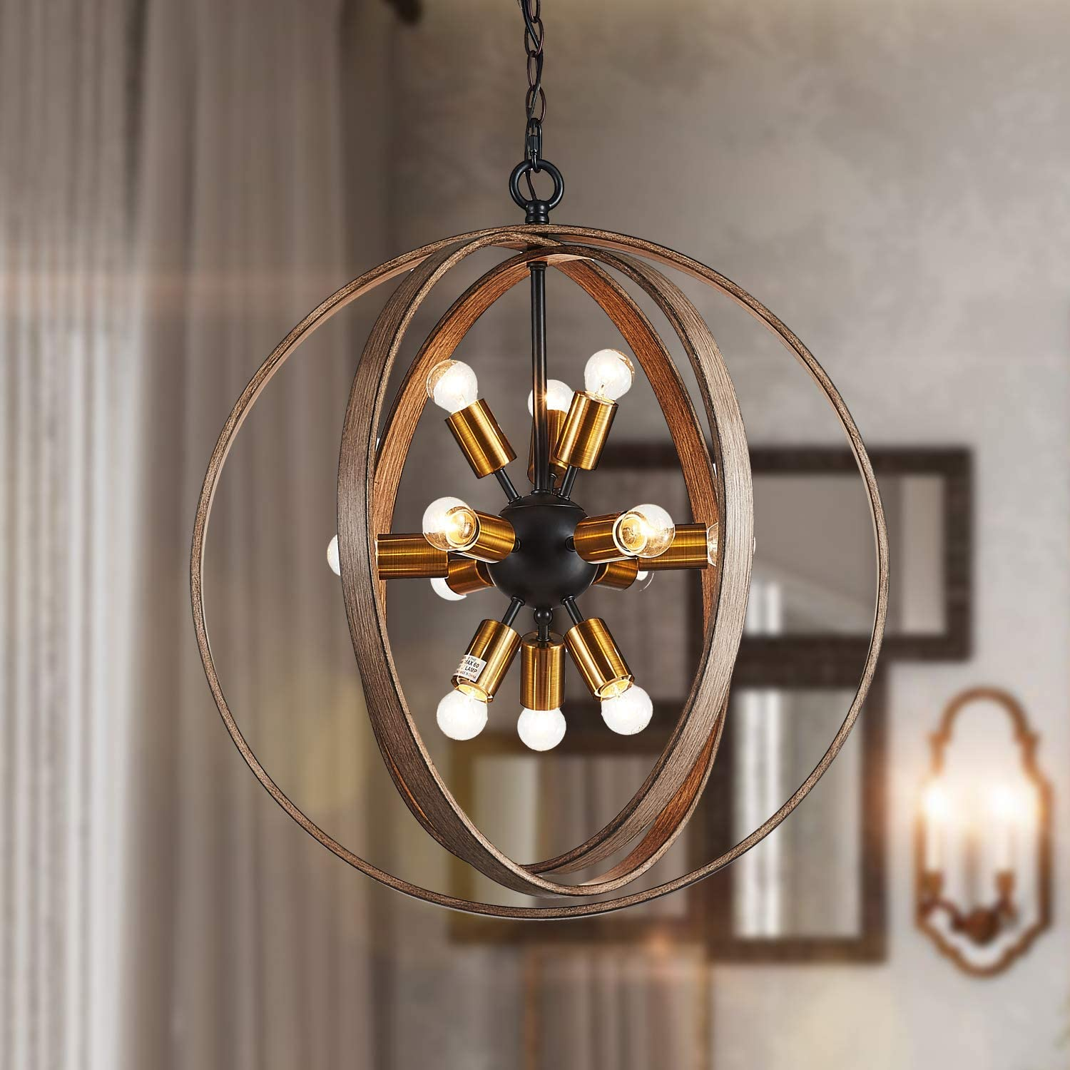 "Saint Mossi Oaky Wood Painted Metal and Warm Brass Finish Orb Chandelier 12 Lights 24"" inch Wide Chandelier Lighting"