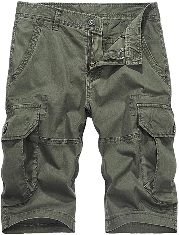 MUST WAY Men's Cotton Loose Fit Lightweight Multi Pockets Casual Cargo Shorts