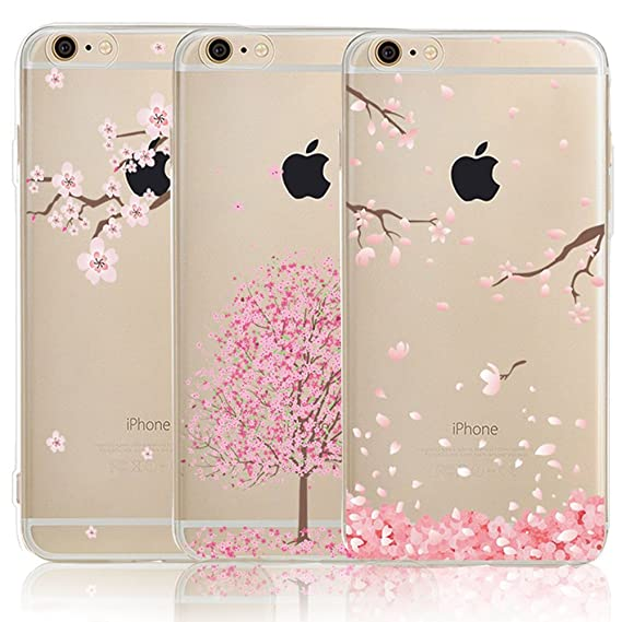 premium selection 78a7c c48b9 iPhone 6 6S Case with Flowers, [3-Pack] CarterLily Watercolor Flowers  Floral Pattern Soft Clear Flexible TPU Back Case for iPhone 6 6S 4.7'' -  Cherry ...