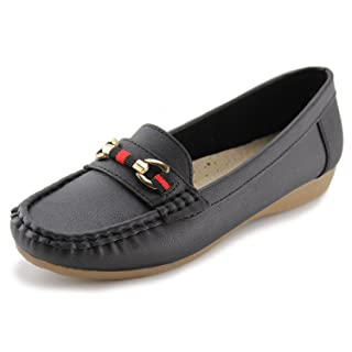 JABASIC Women's Slip-on Loafers Flat Casual Driving Shoes(8, Black-1)