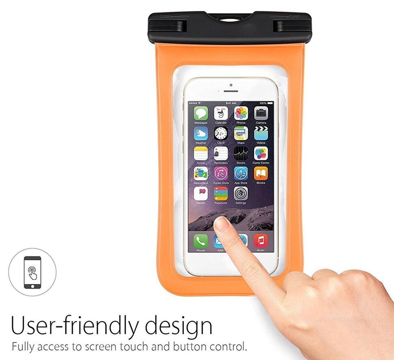Da.Wa Funda Móvil Impermeable Universal Bolsa Sumergible Móvil Transparente Sensible al Tacto para No Más de 6 Pulgadas Teléfono Móvil(Naranja)