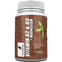 Vitamin K2, D3 and Magnesium Combo: 3-in-1 Formula by NutriZing. 3000IU Vitamin D3, 150mcg VIT K2 (MK-7) and 20mg Magnesium in a Single Capsule. Maintenance of Normal Bones, Teeth & Muscle Function.