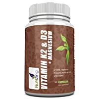 NutriZing's Vitamin K2, D3 and Magnesium in a Premium High Strength Formula. Provides 3000IU vitamin D3, 150mcg Vit K2 (MK-7) and 20mg Magnesium in a single capsule. Contributes to the maintenance of normal bones, teeth and muscle function. Easier than taking 3 separate supplements!