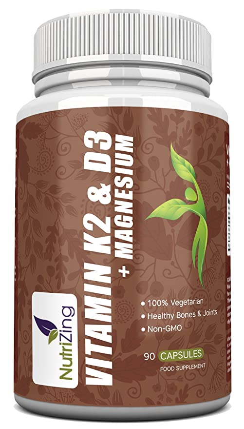 NutriZing Vitaminas K2, D3 y Magnesio ~ Fórmula Prémium de Alta Potencia ~ Vitamina D3