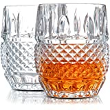 Unique Whiskey Glasses Set of 2. Lead Free Crystal Rocks Tumblers (10oz). 'Crystal Cask' by Van Daemon for Liquor, Bourbon or Scotch. Perfect as a Gift.