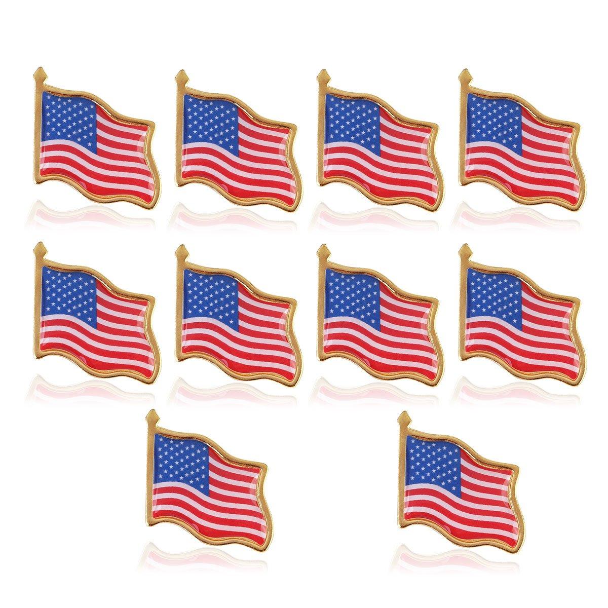 10 broches de drapeau américain UEETEK