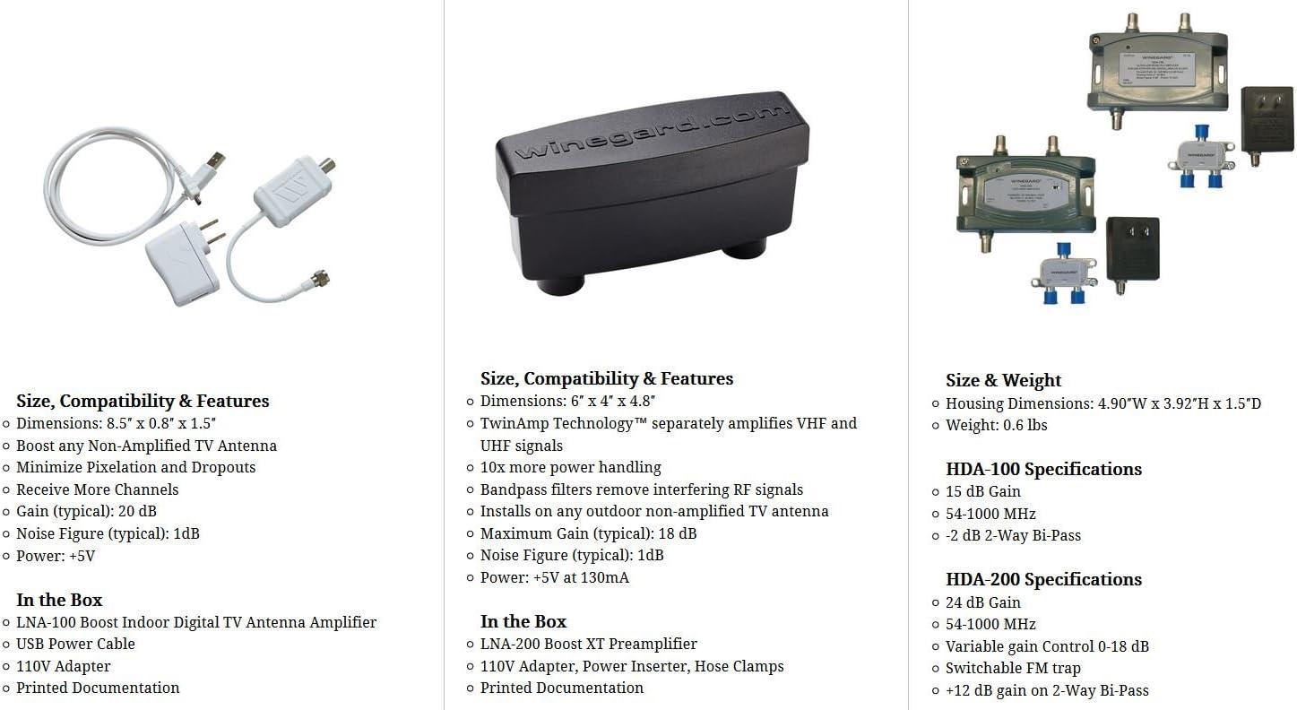 Winegard LNA-200 Boost XT HDTV Preamplifier TV Antenna Amplifier Signal Booster