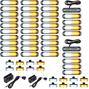 40PCS Ultra Slim 10-LED 30W Emergency Warning Construction Surface Mount Truck Trailer Strobe Light & 16pcs Car Truck Grille Deck Dash Flashing Light - Amber White