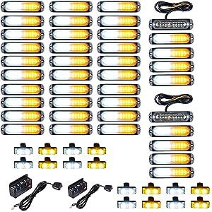 40PCS Ultra Slim 10-LED 30W Emergency Warning Construction Surface Mount Truck Trailer Strobe Light & 16pcs Car Truck Grille Deck Dash Flashing Light - Amber White