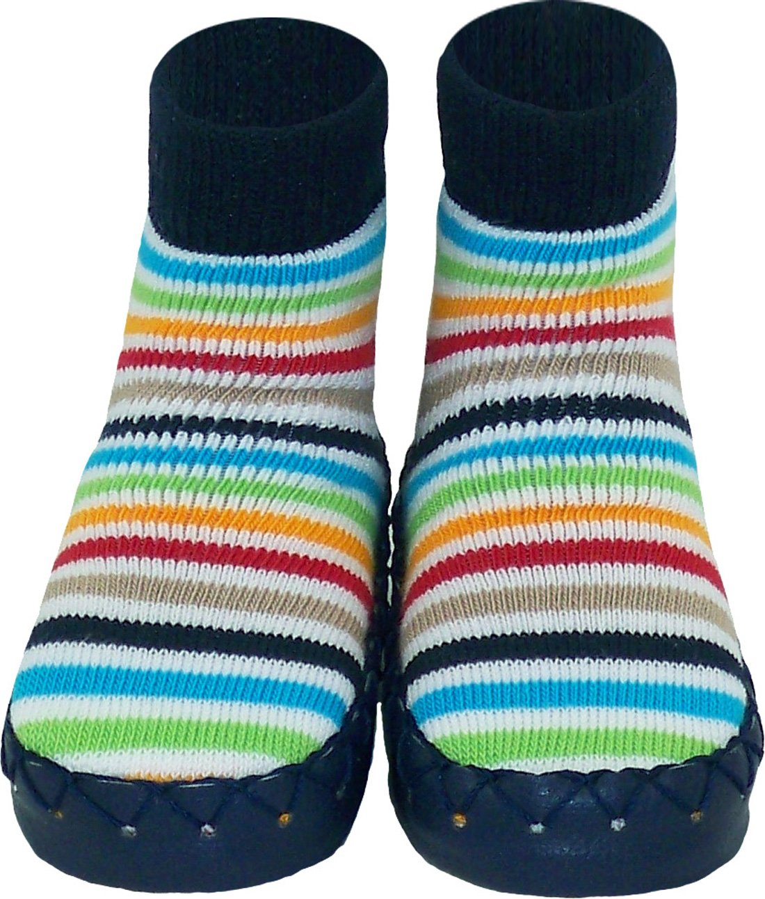 Konfetti Colorful Stripes Moccasins Navy by Konfetti