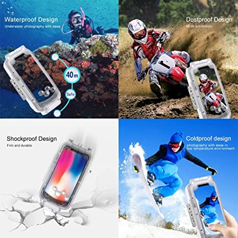 DishyKooker PU-LUZ for i-Phone XS//X//XSMAX//XR Underwater Housing 40m//130ft Diving Photo Video Phone Protective Case for Swimming Surfing Snorkeling i-PhoneXR Transparent Electronic Products