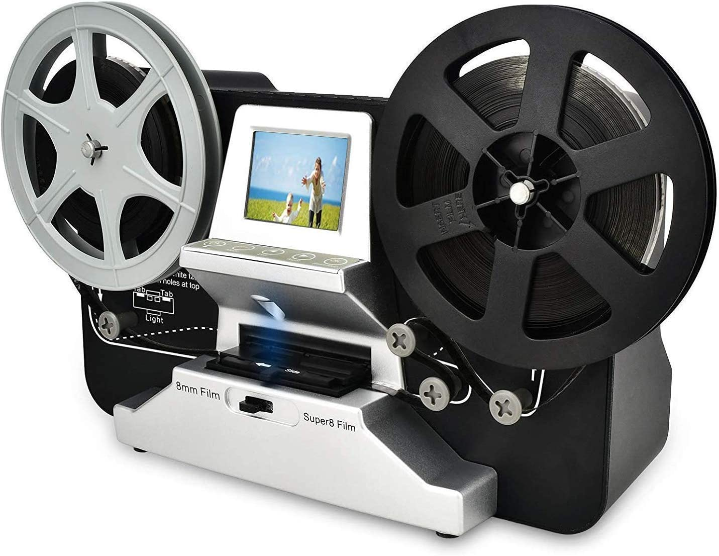 """8mm & Super 8 Reels to Digital MovieMaker Film Sanner Converter, Pro Film Digitizer Machine with 2.4"""" LCD, Black (Convert 3 inch and 5 inch 8mm Super 8 Film reels into Digital) with 32 GB SD Card"""