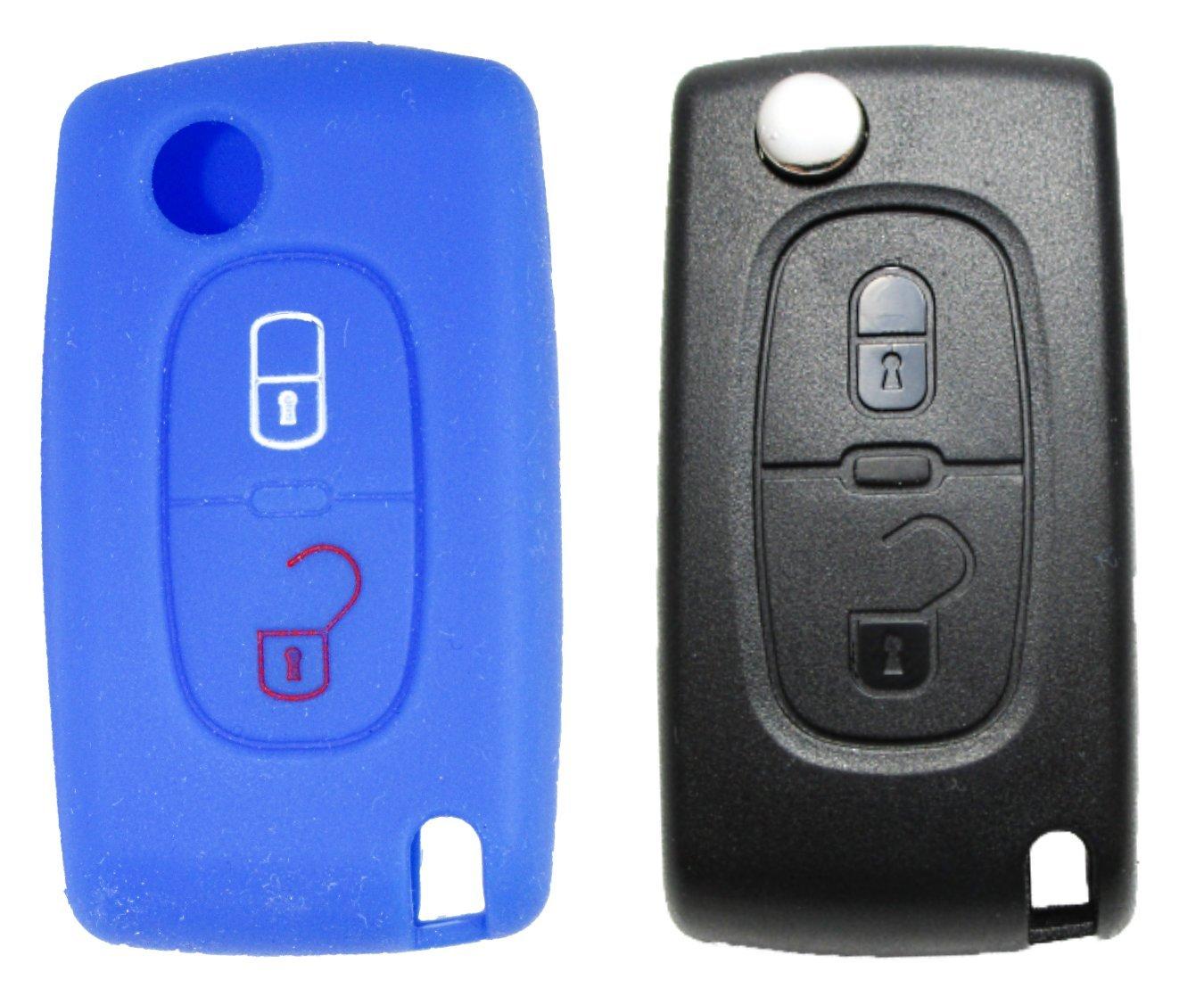 1x Grü ne Autoschlü sselhü lle - Peugeot / Citroen - 2 Tasten - Silikonhü lle - Fernbedienung - Schlü sselhü lle - Key Cover - Schutzü berzug - Klappschlü ssel - Gehä use - Tasche - Silikoncover Gradert-Elektron