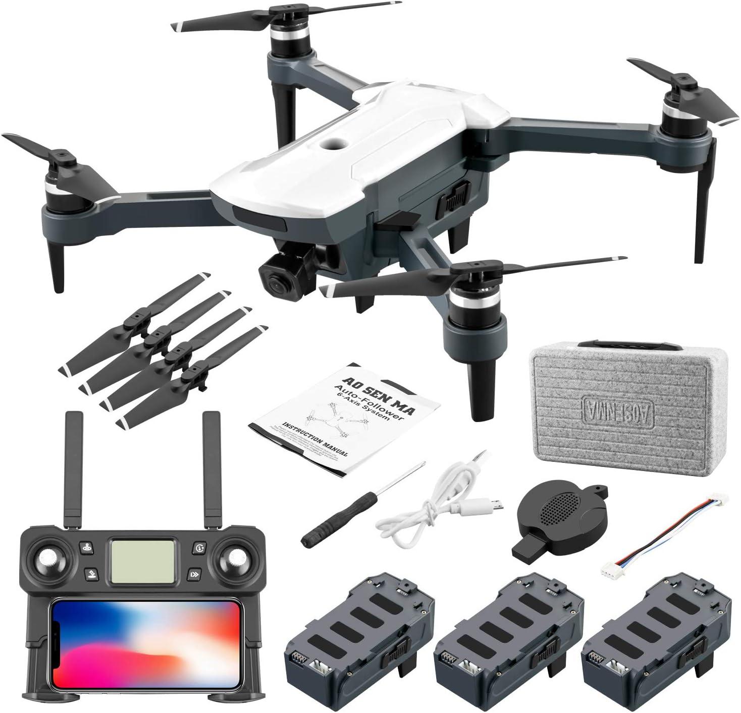 ACHICOO RCドローン 折り畳み式 クワッドコプター 5G信号伝送 画像伝送 GPS搭載 CG028 4Kカメラ HD 16メガピクセル 空中 多機能 APP操作 ブラシレスモーター スマートフォロー撮影 自己安定撮影 遠隔距離 白 バッテリー3個