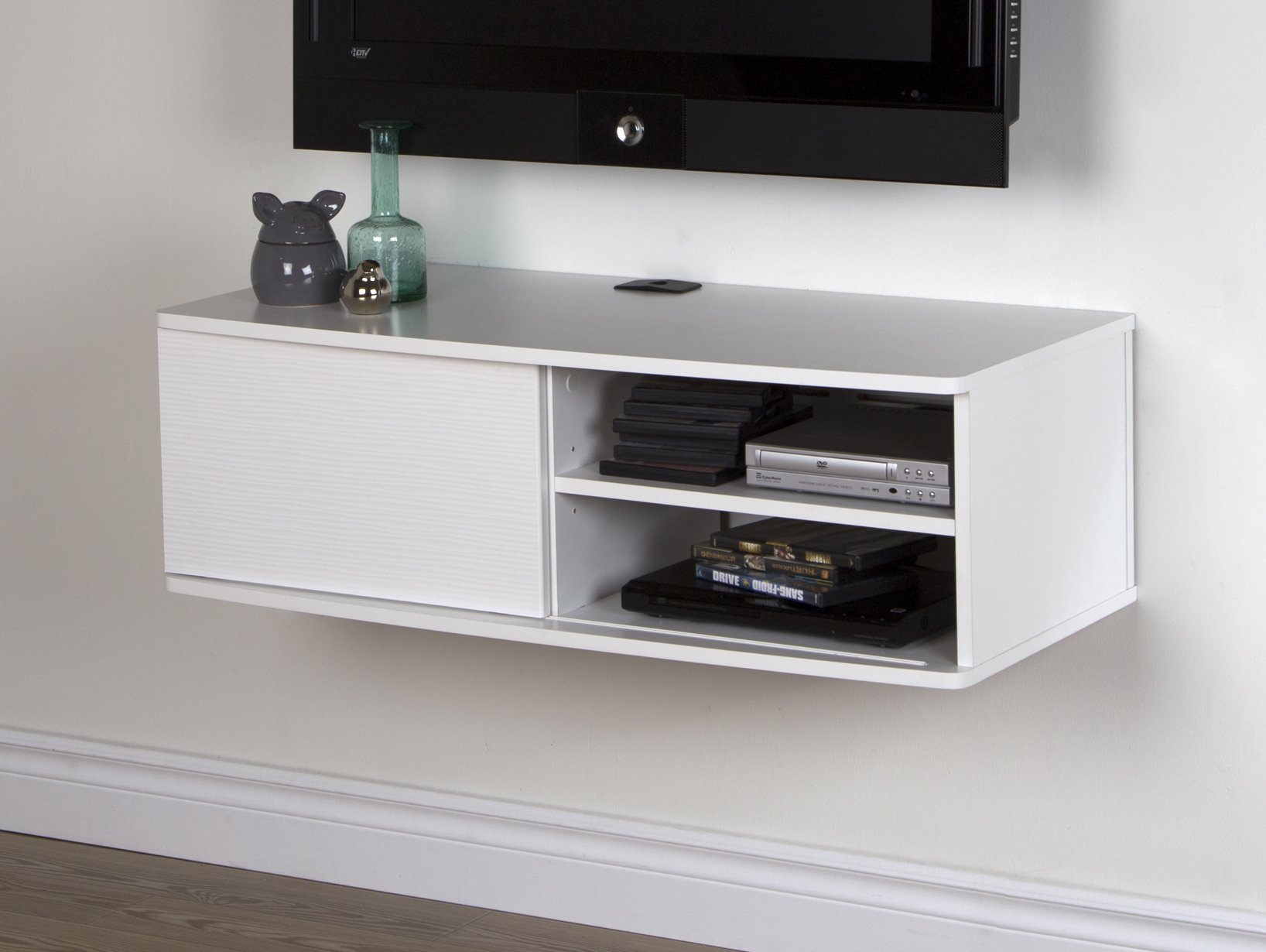 South Shore Agora Wall Mounted Media Console, 38'', Pure White
