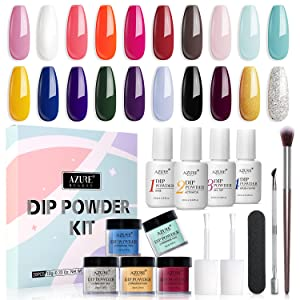 20 Colors Dip Powder Nail Kit Starter, AZUREBEAUTY Acrylic Dipping Powder System Essential Liquid Set with Top/Base Coat Activator Brush Saver for French Nail Art Manicure Extension Beginner DIY Salon