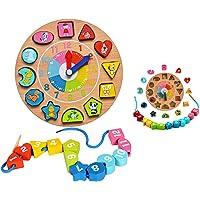 Itian Forma di Legno Clock Ordinamento con due lati, Orologio in Legno con Numeri e forme di Animali Blocchi