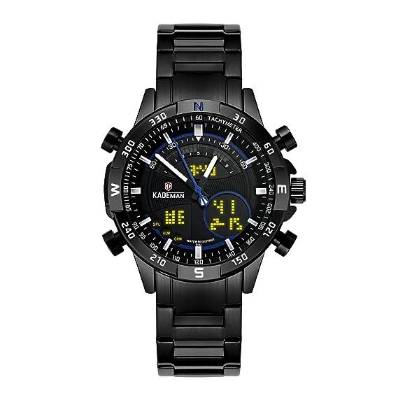 Relojes para hombre cronógrafo resistente al agua militar deportivo analógico reloj digital de cara grande LCD