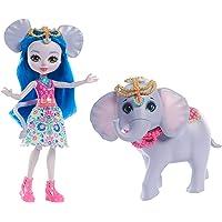 Enchantimals Mini-poupée articulée Ekaterina Éléphant et Grande Figurine Animale Antic, aux cheveux bleus avec jupe en tissu, jouet enfant, FKY73