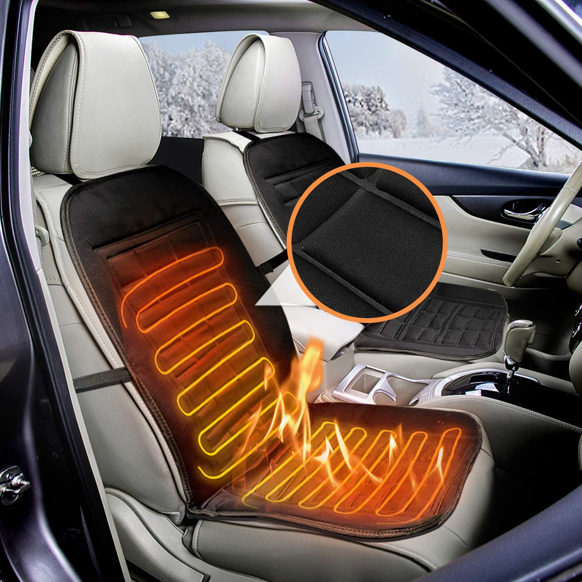 Audew 12V Car Front Seat Hot Heater Heated Pad Cushion Winter Warmer Cover Black/Grey Black