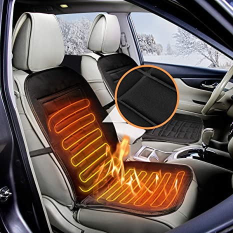 AUDEW Heated Seat Cushion Winter Car Warmer Cover 12V Plugs Into Cigarette Lighter With 3