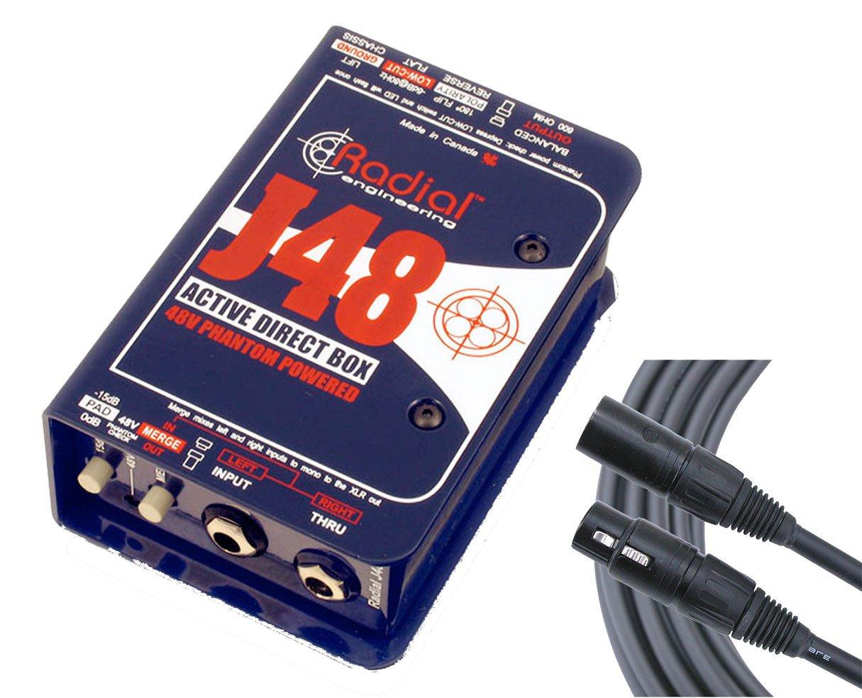Radial J48 Active Phantom Powered Direct Box DI + Mogami XLR Cable