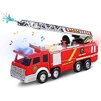 FUNTOK Camion de Pompier Enfant, Jouet Enfant Camion Pompier avec Échelle, Lumières, Sons et Fonction de Pulvérisation d'eau pour Plus de 3 Ans