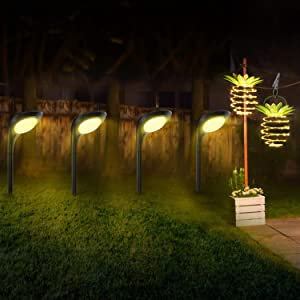 JSOT 4 Pack Solar Pathway Light & 2 Pack Solar Hanging Pineapple Lights Outdoor Waterproof Garden Light Decor Your Yard