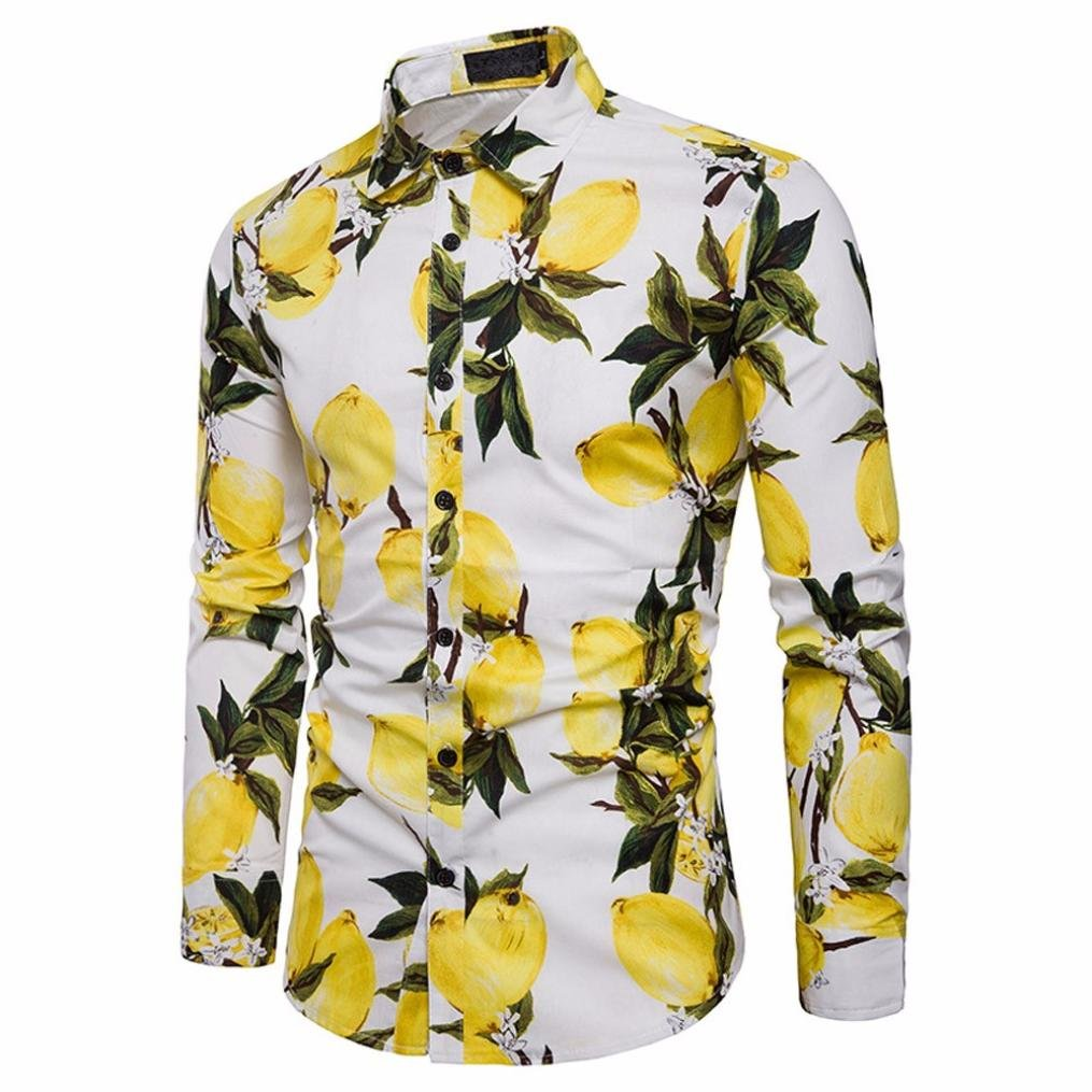 Allywit Men/'s Shirts Shirt Printed Slim Fit Long Sleeve Casual Button Shirts Formal Top Blouse