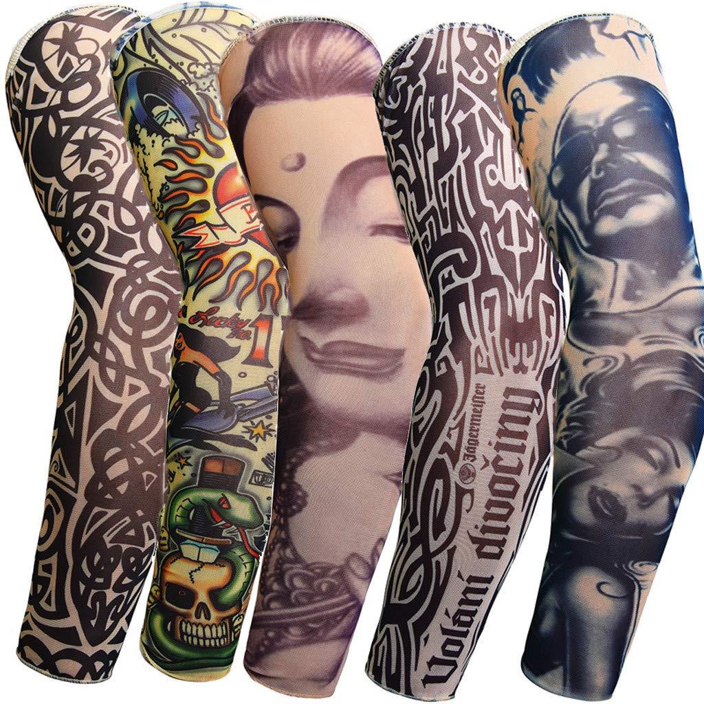Amazon.com: 5 mangas de tatuaje temporales falsas de nailon ...