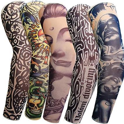 5 piezas de tatuajes unisex de mangas, calcetines, tatuajes ...