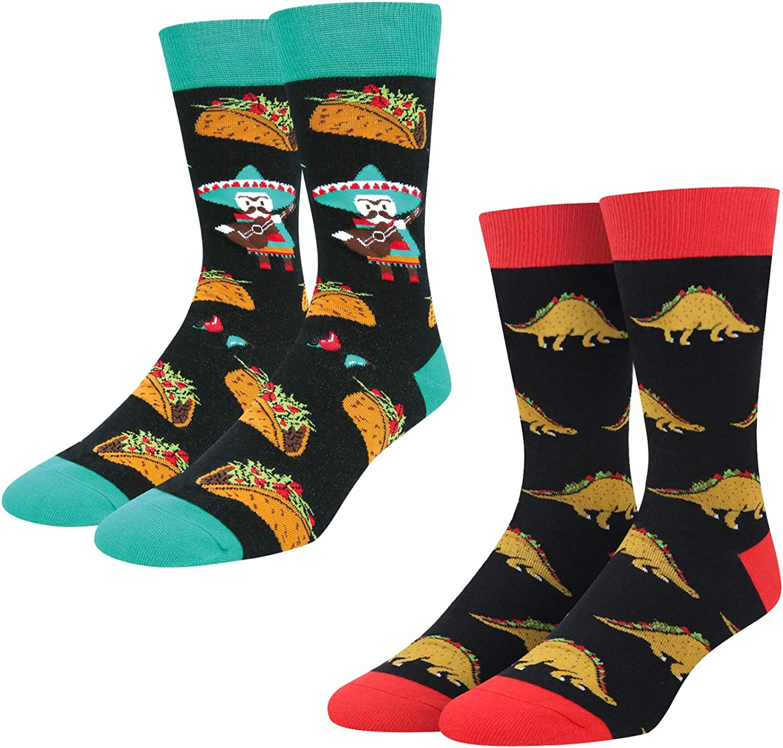 Zmart Funny Bigfoot Alien Taco Llama Pineapple Christmas Shark Socks for Men 2Pack