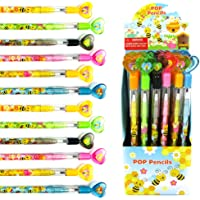 TINYMILLS 24 Pcs Bumble Bees Honeybees Multi Point Stackable Push Pencil Assortment with Eraser for Party Favors Baby…