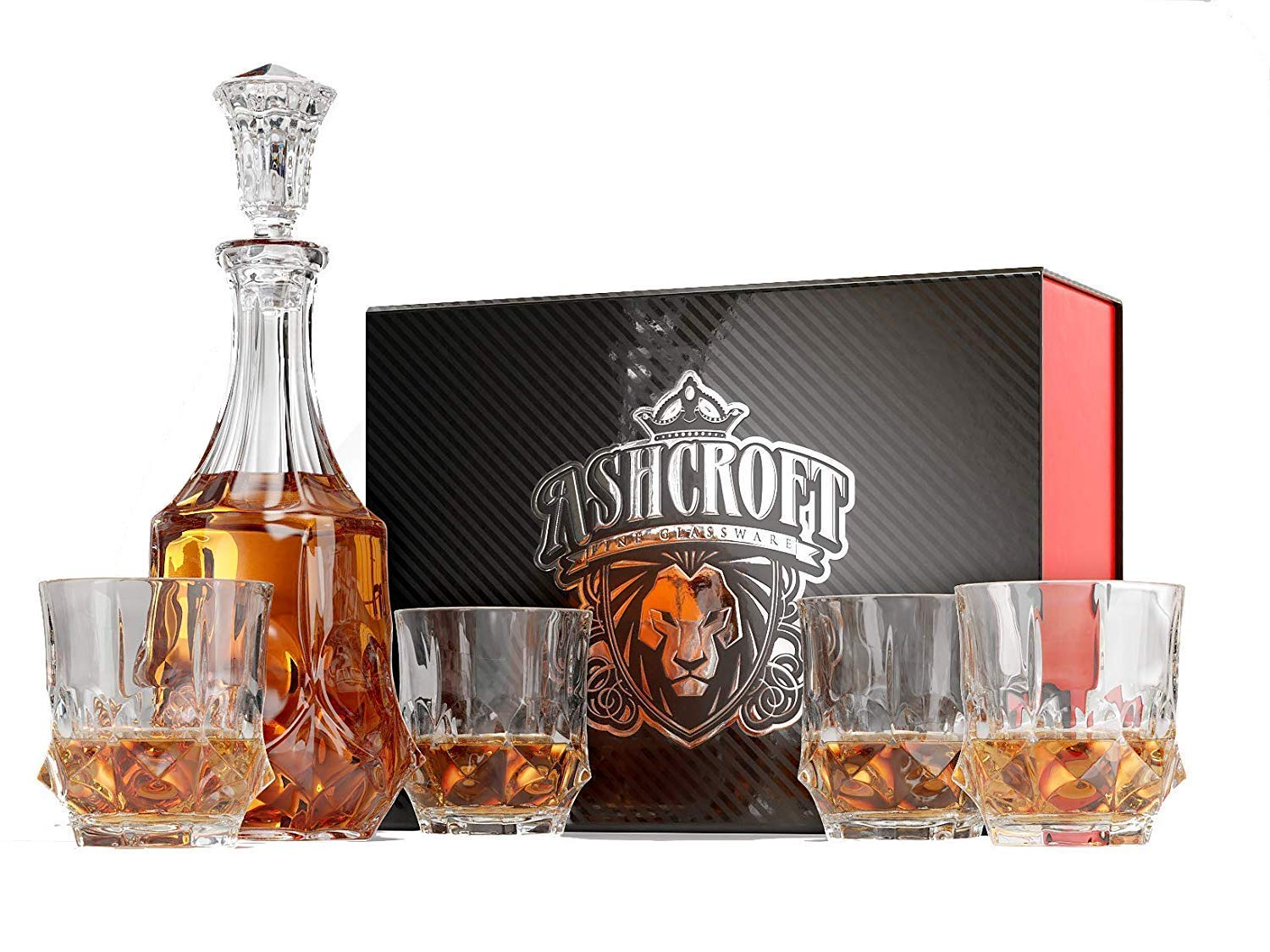 Ashcroft Imperial Whiskey Decanter Set - Lead Free Crystal Glasses for Scotch, Rum, Old Fashioned 5 Piece by Ashcroft Fine Glassware (Image #1)