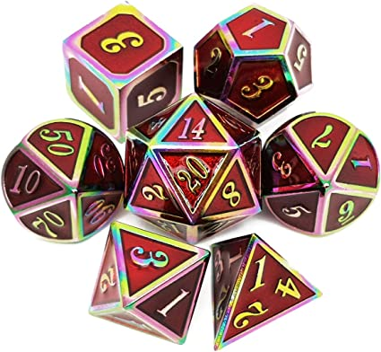 Haxtec Metal DND Dice Set Polyhedral D/&D Dice for Dungeons and Dragons TTRPGs-Antique Copper Red