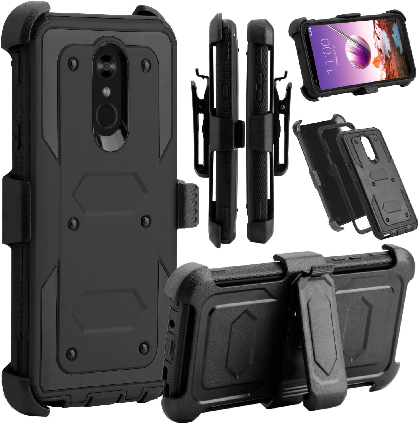 Venoro LG Stylo 4 Phone Case, LG Stylo 4 Case, Heavy Duty Shockproof Full Body Protection Case Cover with Swivel Belt Clip and Kickstand for LG Q Stylo/LG Stylo 4+ / LG Stylo 4 Plus (Black)