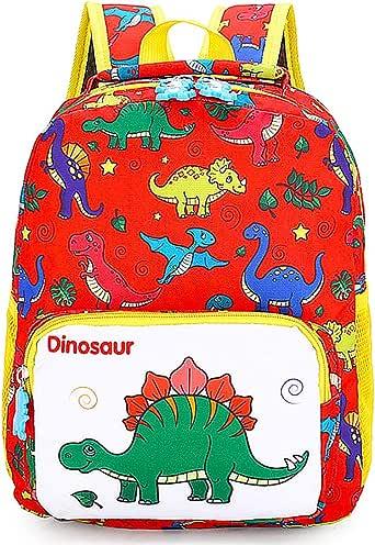 Mochila Infantil, BETOY Mochila para Niños de Dinosaurios Mochila Escolar Infantil Niño , Mochila Preescolar Lindo de Kindergarten Mochila Escolar Niños(rojo)