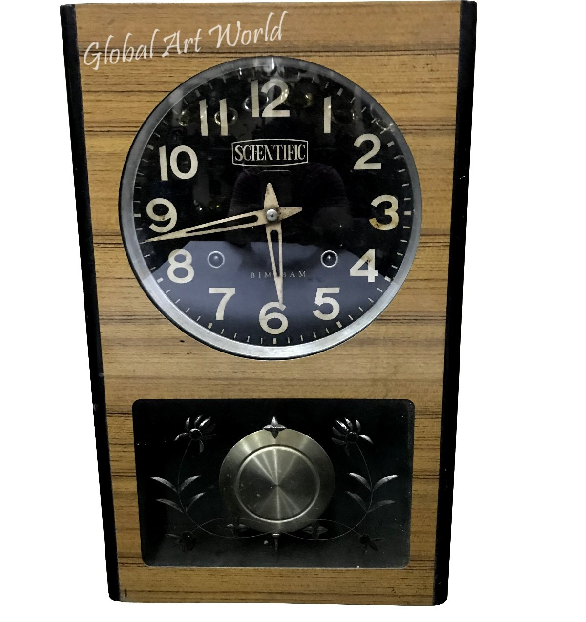 Global Art World Original Time Piece Antique Collectible Clocks 20th Century Stylized Watch Home & Wall Décor Vintage Genuine Scientific Wind Up Bim – Bam Wall Clock HB 0194