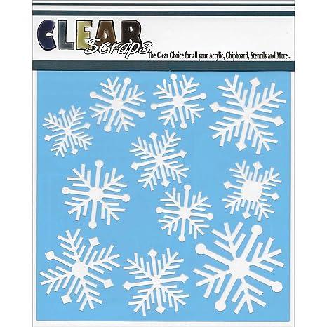 Clear Scraps Stencils 6 quot;X6 quot;   Nordic Snowflakes  Pack of 3   Craft Materials