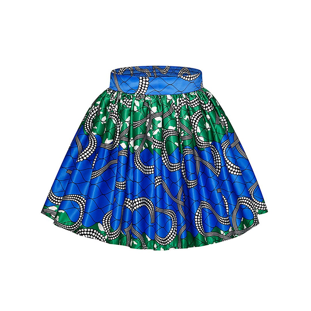 Style1023 Hoohu Womens Girls Hot Boho Floral Printed Pleated Hem Above Knee Mini Skirt for Casual Club Beach Cocktail