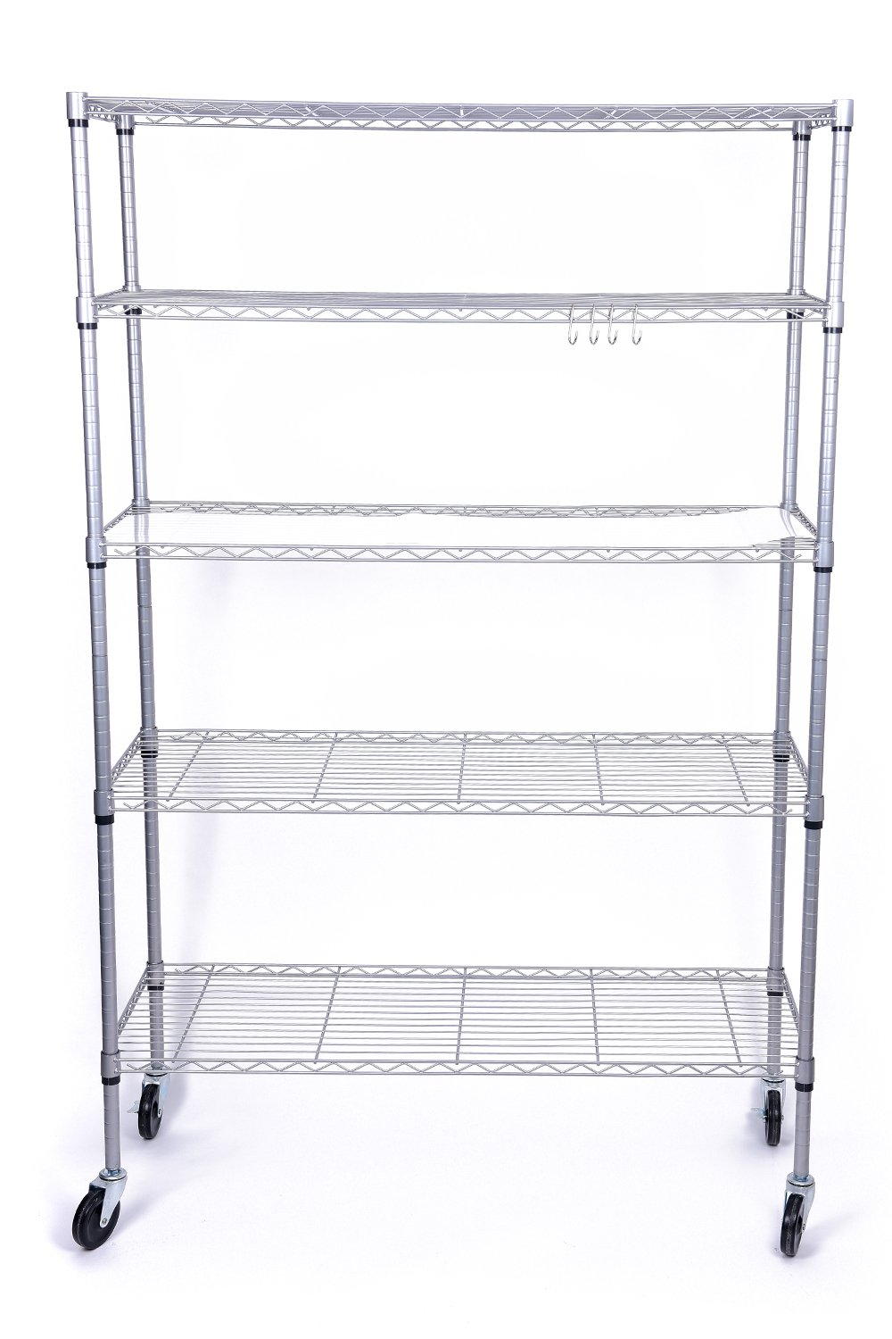 J.S. Hanger 5-Tier Heavy Duty Storage Shelf Adjustable Wire Shelving Rack, Thicken Tube and Industrial Wheels, Silver