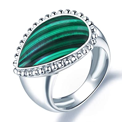 713a7e915 Hutang Malachite Wedding Ring Natural Gemstone Solid 925 Sterling Silver  Fine Fashion Stone Jewelry for Women