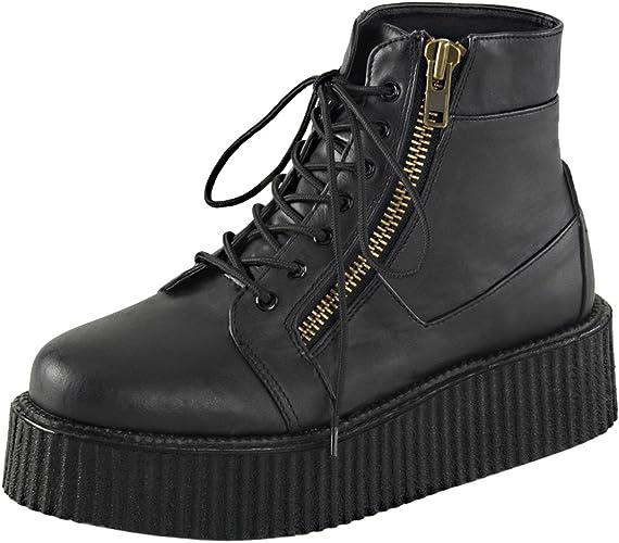 Mens Platform Boots Black Creeper Shoes