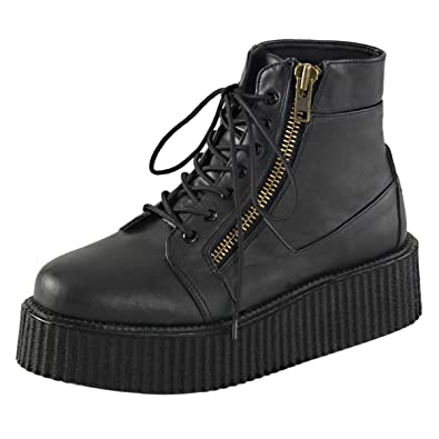 Mens Platform Boots Black Creeper Shoes Lace Up High Top Sneakers 2 In  Platform Size: