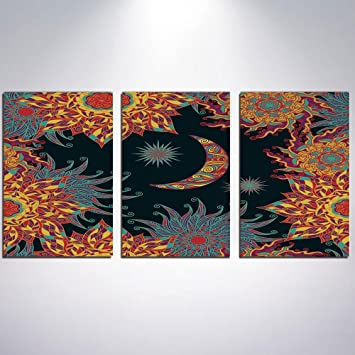 Amazon Com Canvas Wall Art Sun And Moon Canvas Painting Home