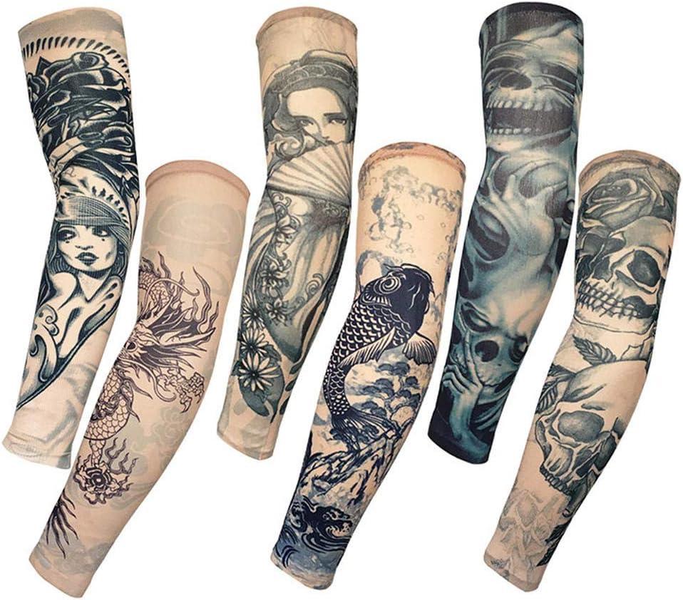 Mzqaxq Tattoo Sleeve 6 Unids/Set Manga del Brazo Protección Solar ...