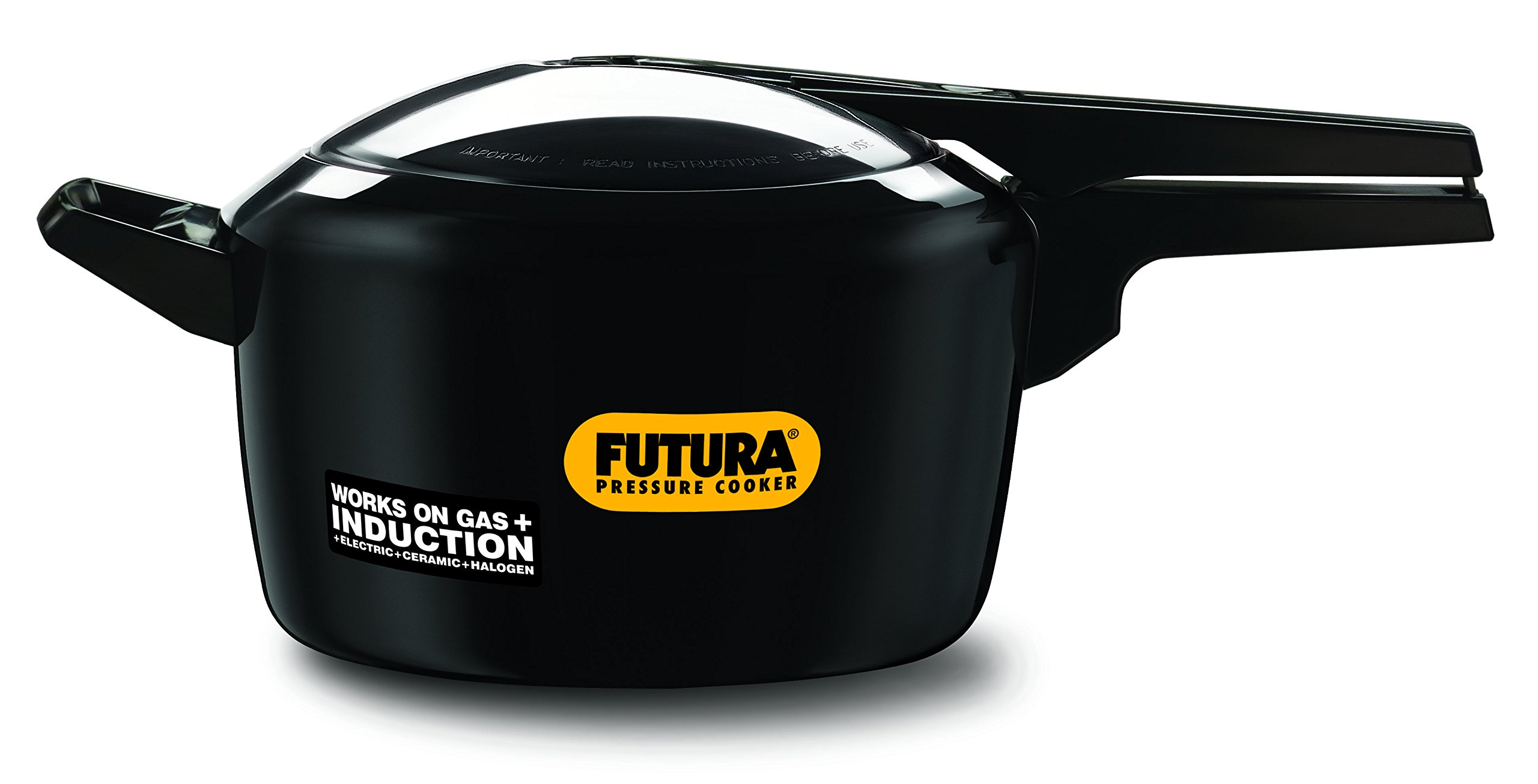 Futura 5-Litre Hard Anodized Induction Compatible Pressure Cooker, Small, Black
